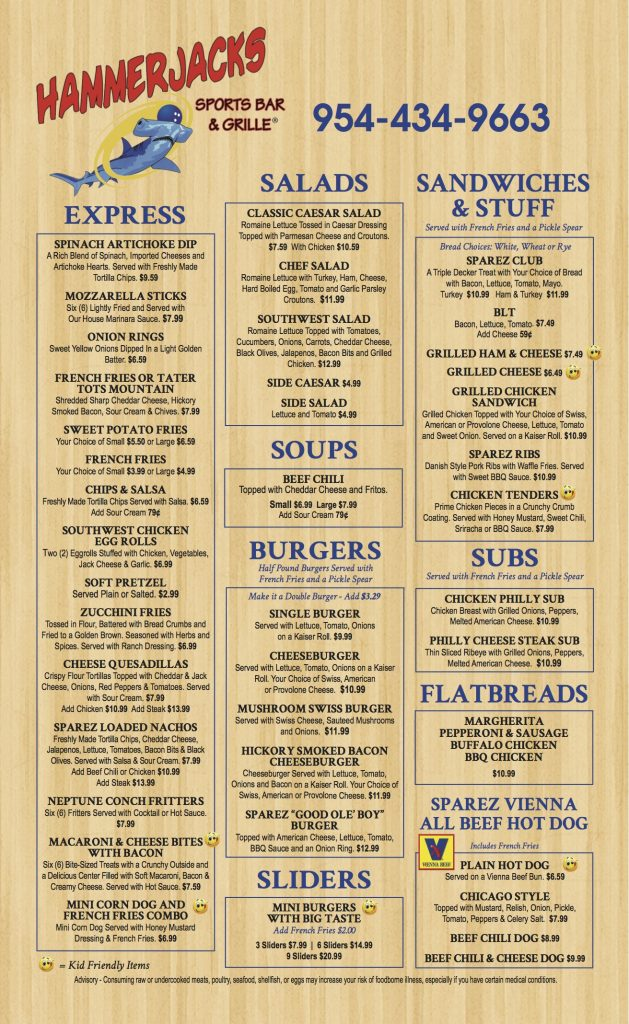 Hammer Jacks Menu Page 1